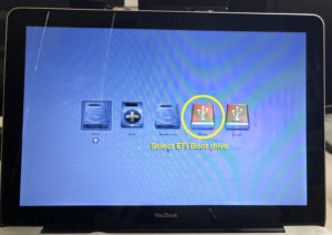 Image showing a Mac Startup Manager screen with multiiple drives. The EFI drive has a circle drawn around it to indicate that it is selected.